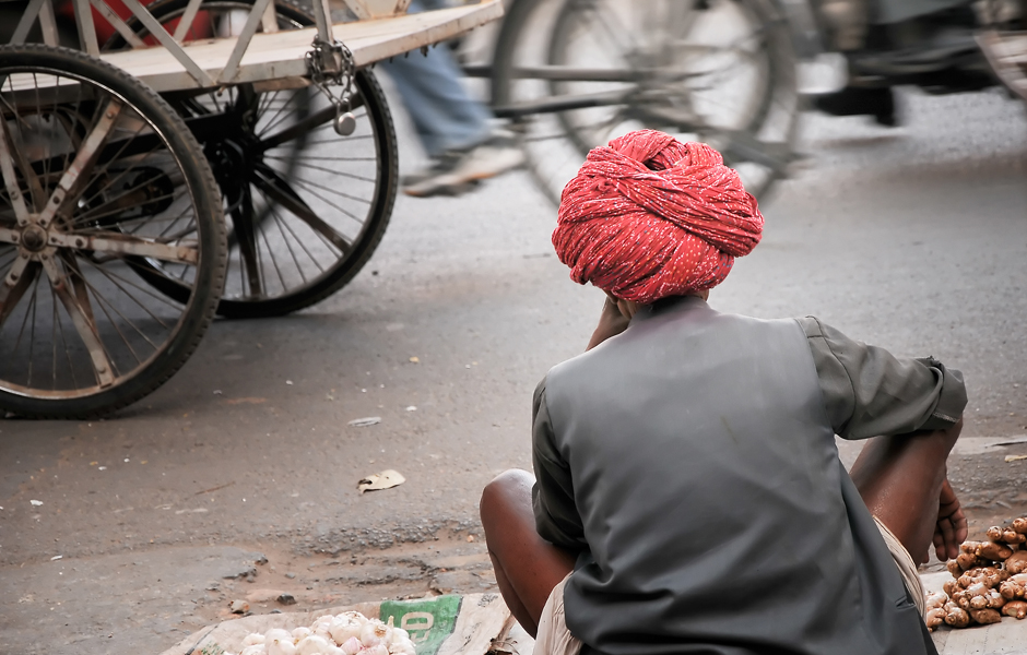 Traditional Indian hat at street in Jaipur, India